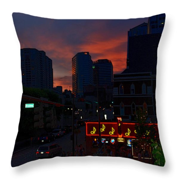 Sunset over Nashville Throw Pillow by Susanne Van Hulst