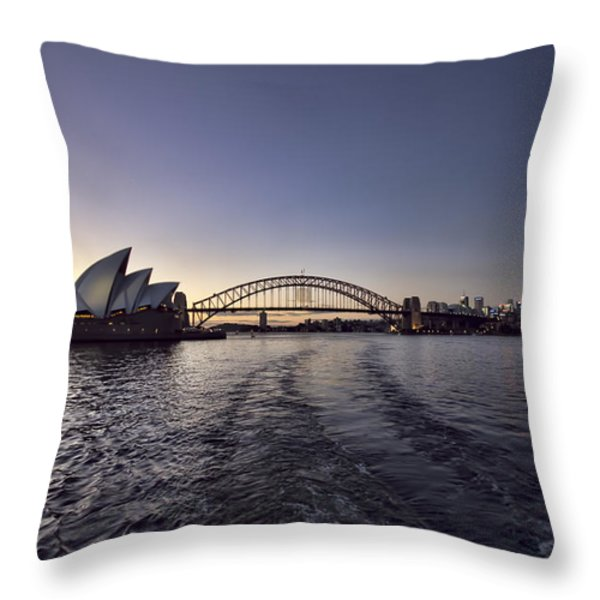 Sunset Over Sydney Harbor Bridge And Sydney Opera House Throw Pillow by Douglas Barnard