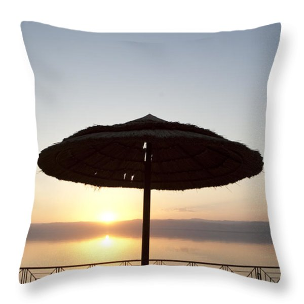 Sunset Over The Dead Sea Throw Pillow by Taylor S. Kennedy