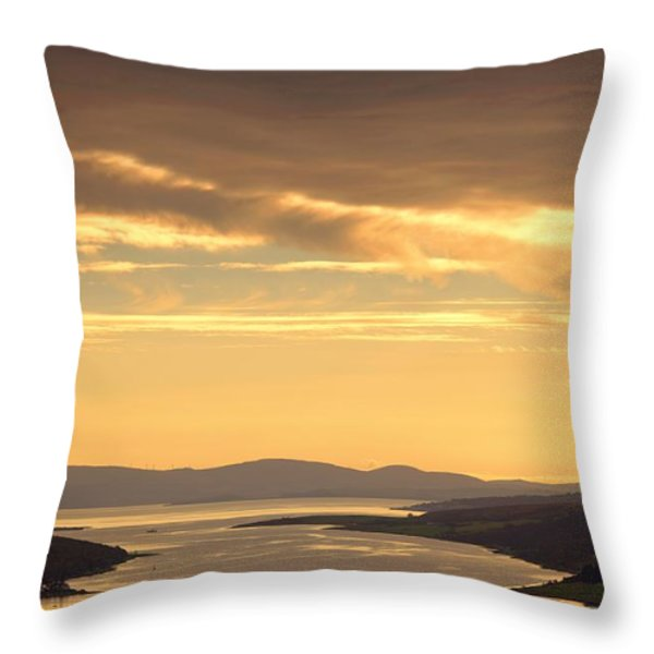 Sunset Over Water, Argyll And Bute Throw Pillow by John Short