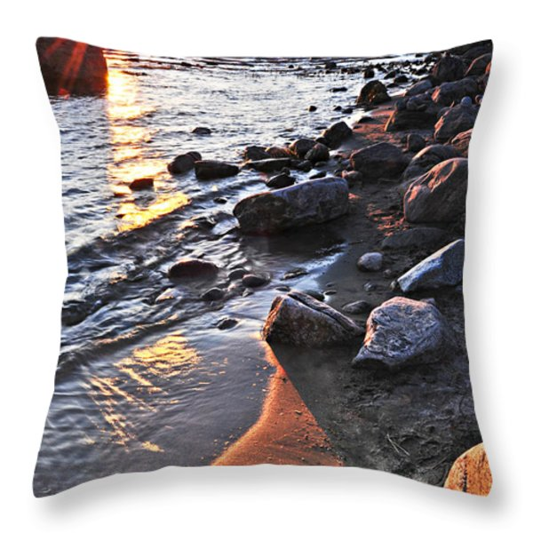 Sunset Over Water Throw Pillow by Elena Elisseeva