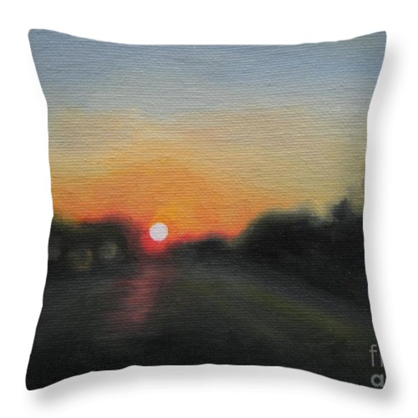 Sunset Road Throw Pillow by Jindra Noewi