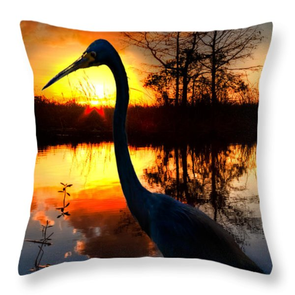 Sunset Silhouette Throw Pillow by Debra and Dave Vanderlaan