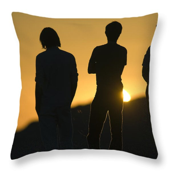Sunset Silhouette Over Corral Canyon Throw Pillow by Rich Reid