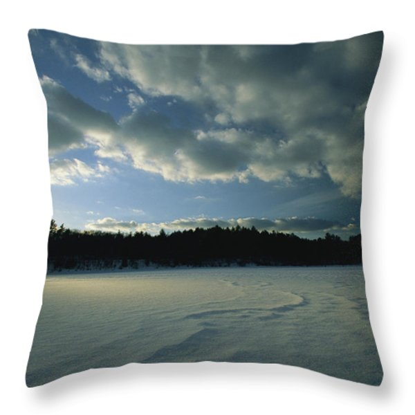 Sunset Viewed From The Frozen Surface Throw Pillow by Tim Laman