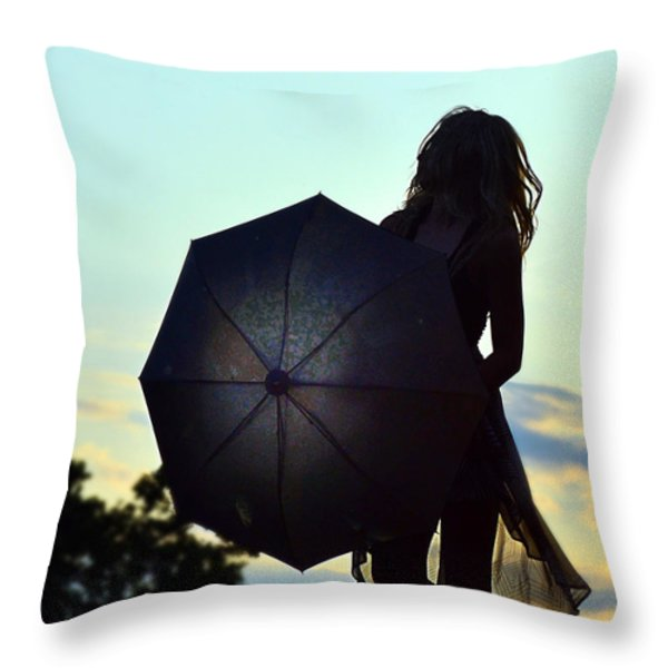 Sunset Walker Throw Pillow by Kurt Bonnell