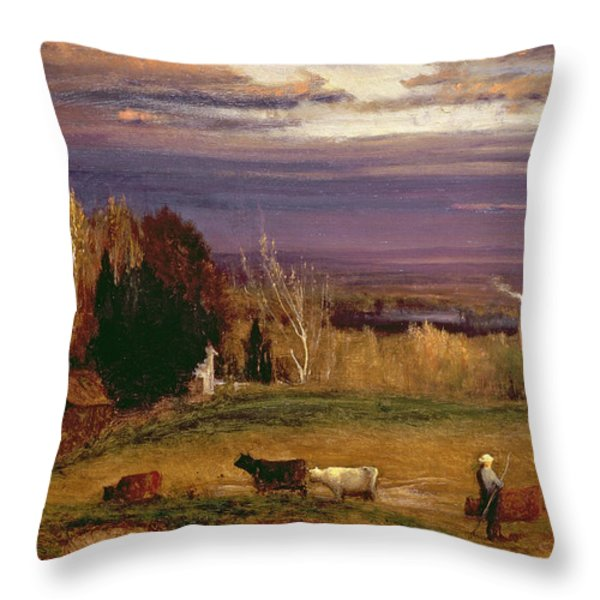 Sunshine After Storm Or Sunset Throw Pillow by George Snr Inness