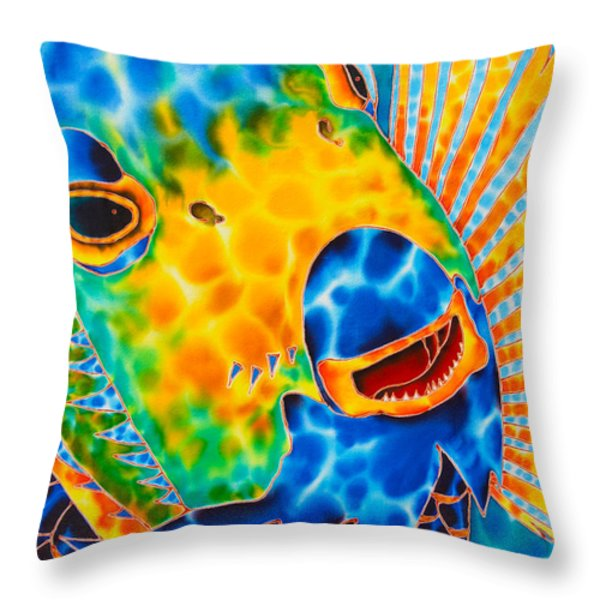 Sunshine Angelfish Throw Pillow by Daniel Jean-Baptiste