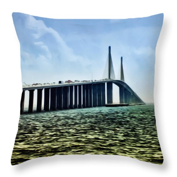 Sunshine Skyway Bridge - Tampa Bay Throw Pillow by Bill Cannon