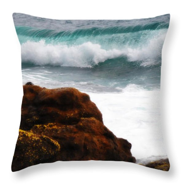 Surf Breaking Near Coast Throw Pillow by Phill Petrovic