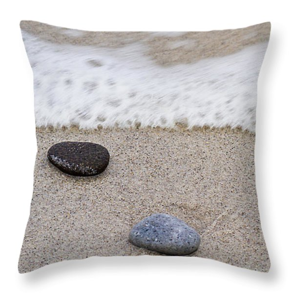 Surf Sand and Stones Throw Pillow by TB Sojka