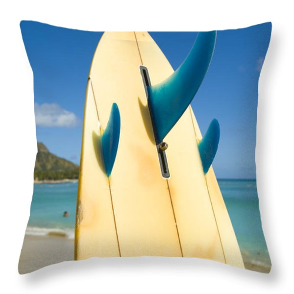 Surfboard Throw Pillow by Dana Edmunds - Printscapes