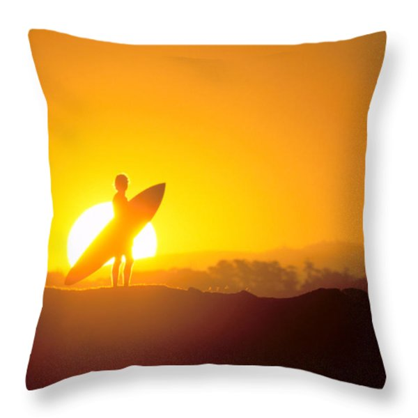 Surfer Silhouetted At Sun Throw Pillow by Erik Aeder - Printscapes