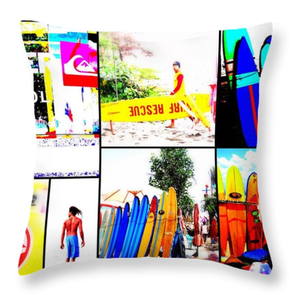 Surfing Bali Beaches Throw Pillow by Funkpix Photo Hunter