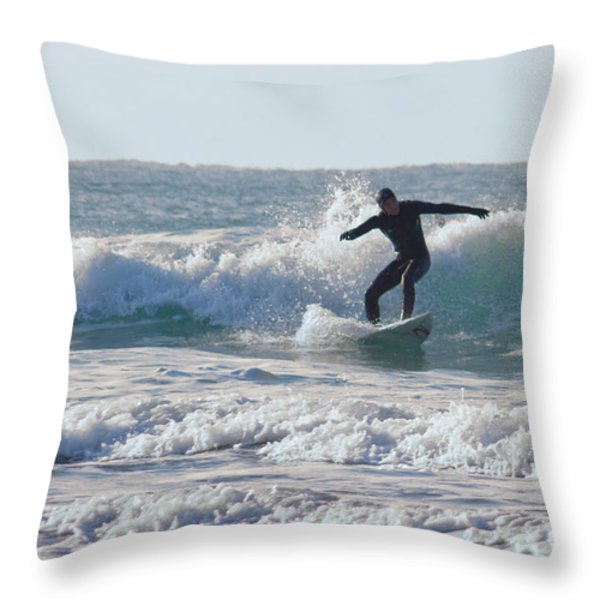 Surfing The Atlantic Throw Pillow by Brian Roscorla