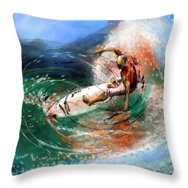 Surfscape 03 Throw Pillow by Miki De Goodaboom