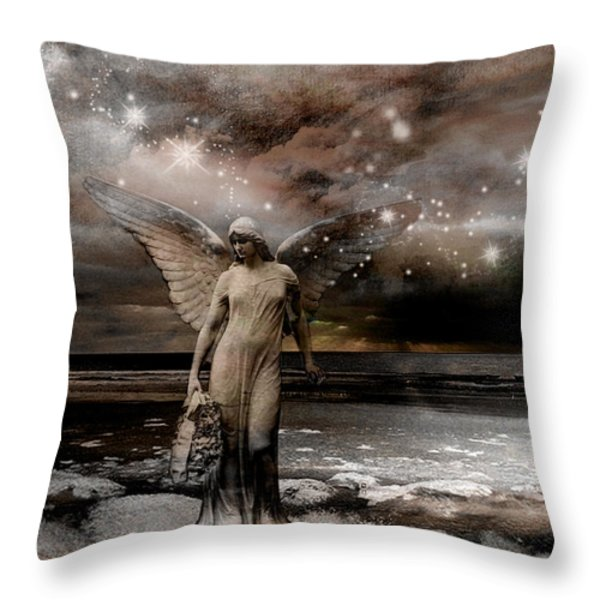 Surreal Fantasy Celestial Angel With Stars Throw Pillow by Kathy Fornal