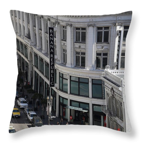 Sutter Street East View Throw Pillow by Wingsdomain Art and Photography