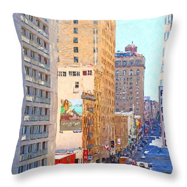 Sutter Street San Francisco Throw Pillow by Wingsdomain Art and Photography