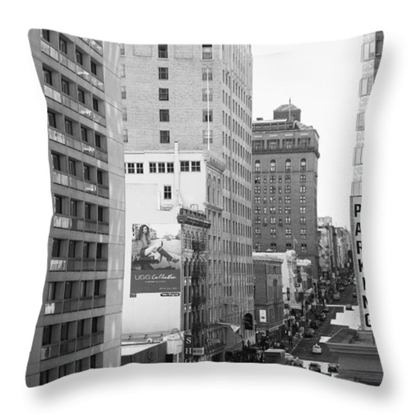 Sutter Street West View . Black and White Photograph 7D7506 Throw Pillow by Wingsdomain Art and Photography
