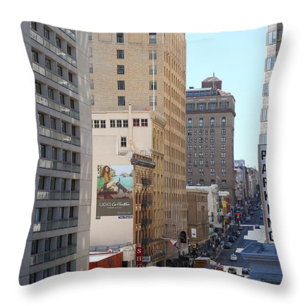 Sutter Street West View Throw Pillow by Wingsdomain Art and Photography