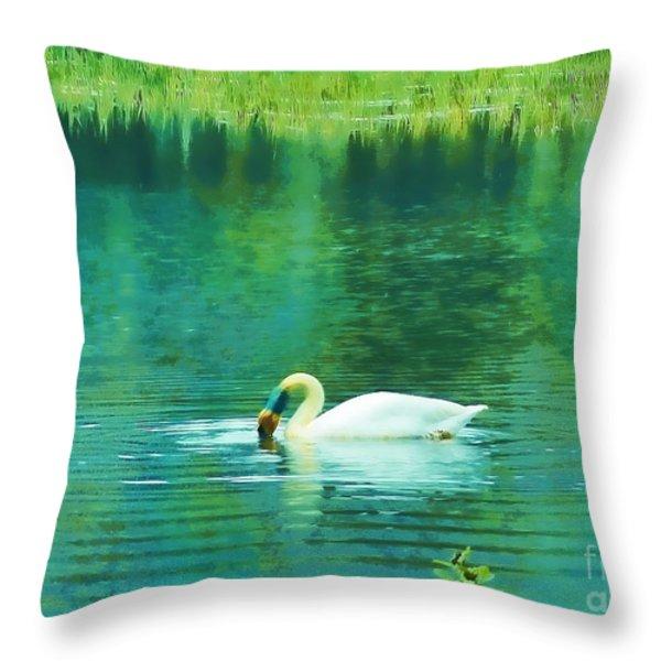 Swan Lake Throw Pillow by Judi Bagwell