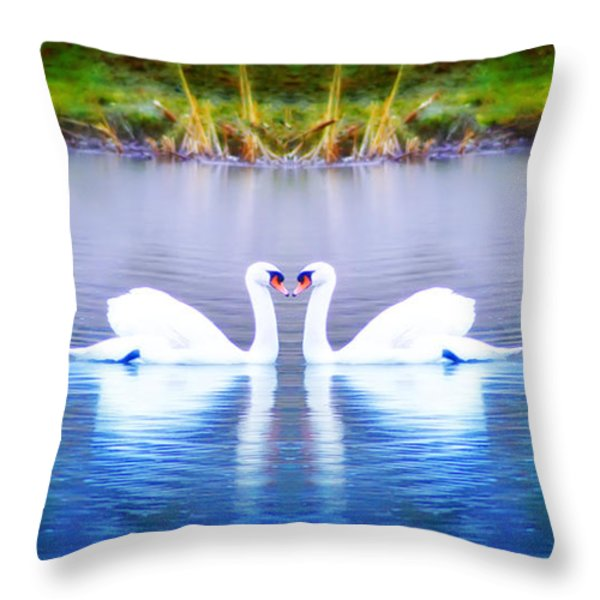Swan Love Throw Pillow by Bill Cannon