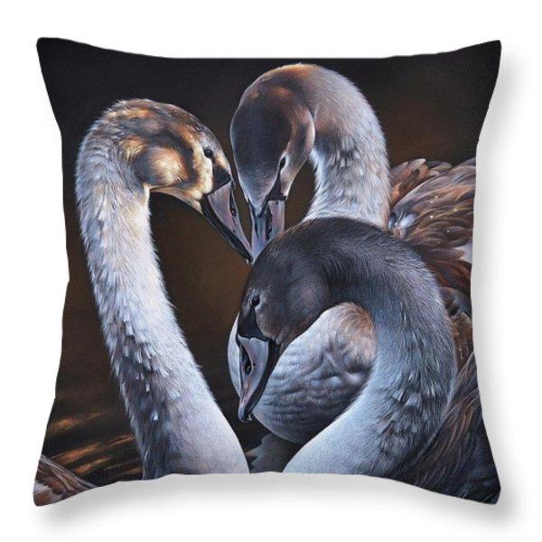 Swan Whispers Throw Pillow by Elena Kolotusha