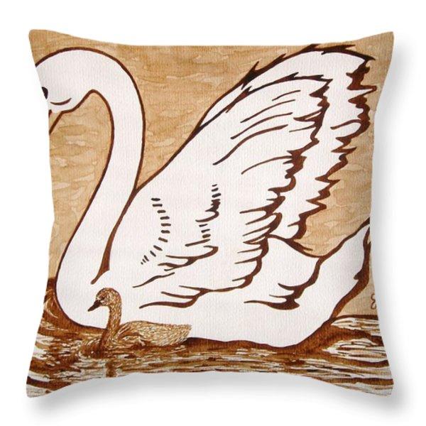 Swan With Chick Original Coffee Painting Throw Pillow by Georgeta  Blanaru