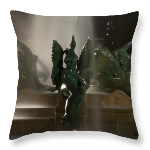 Swann Fountain at Night Throw Pillow by Bill Cannon