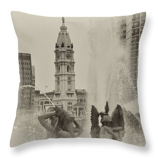 Swann Memorial Fountain in Sepia Throw Pillow by Bill Cannon