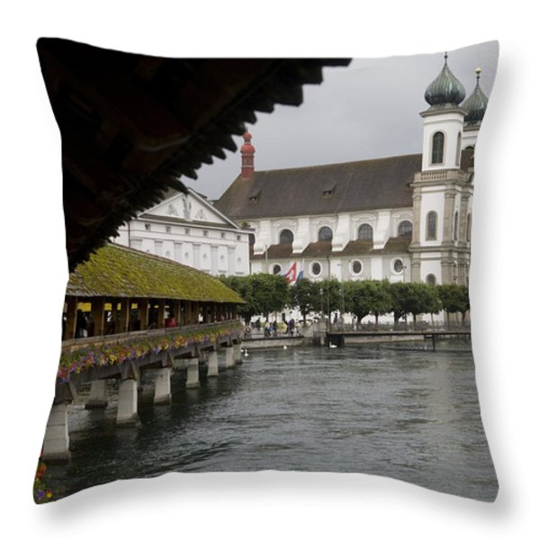 Swans Float Past The Old Town Throw Pillow by Taylor S. Kennedy