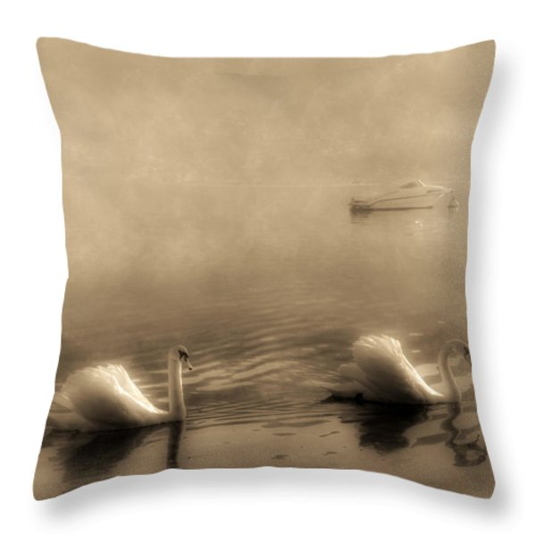 Swans Throw Pillow by Joana Kruse