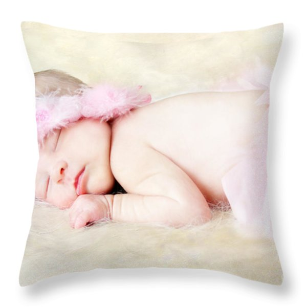 Sweet Baby Girl Throw Pillow by Darren Fisher