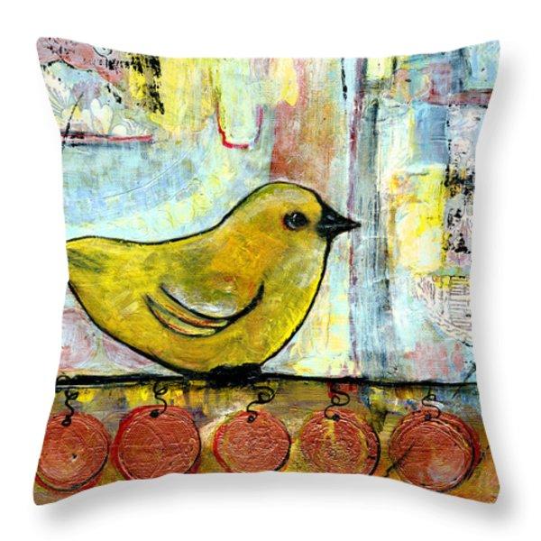 Sweet Green Bird Throw Pillow by Blenda Studio