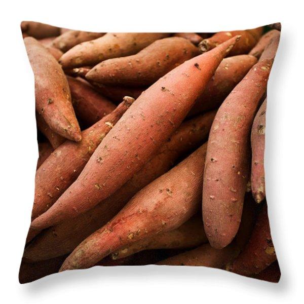 Sweet Potatoes Throw Pillow by Tanya Harrison