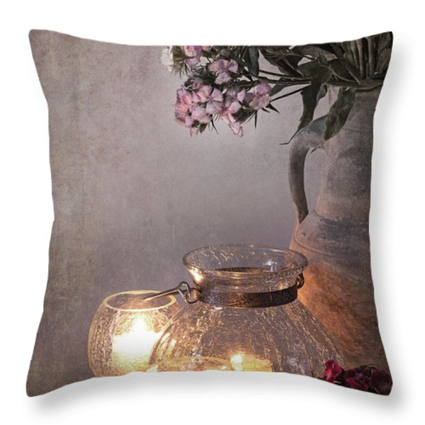 Sweet Williams faded. Throw Pillow by Jane Rix
