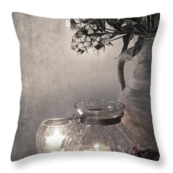 Sweet williams sepia Throw Pillow by Jane Rix
