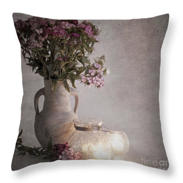 Sweet Williams Vintage Throw Pillow by Jane Rix