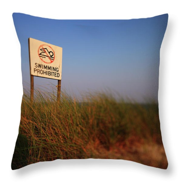 Swimming Prohibited Throw Pillow by Rick Berk