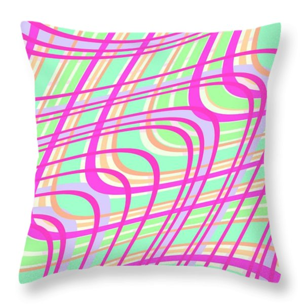 Swirly Check Throw Pillow by Louisa Knight