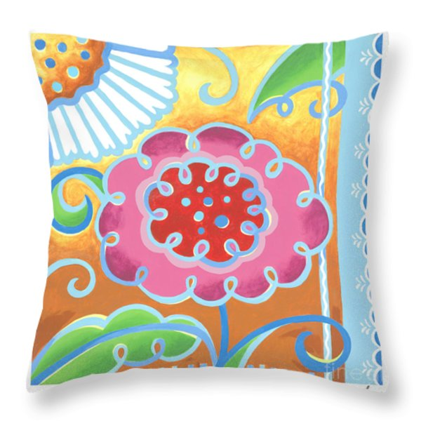 Swirly World Throw Pillow by Renee Womack