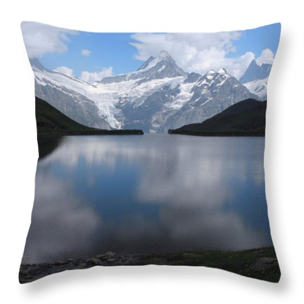 Swiss Alps And Clouds Casting Throw Pillow by Anne Keiser