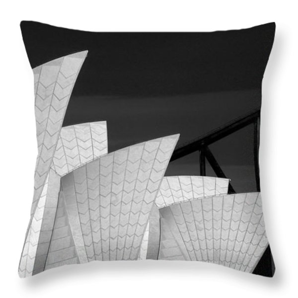 Sydney Opera House With Bridge Backdrop Throw Pillow by Sheila Smart