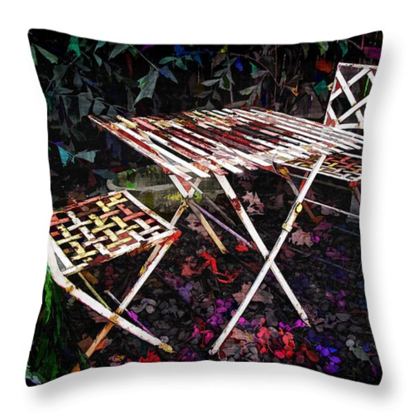 Table And Chairs Throw Pillow by Joan  Minchak
