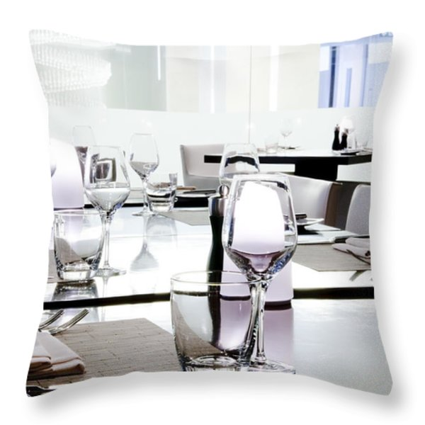 Table Setting Throw Pillow by Setsiri Silapasuwanchai