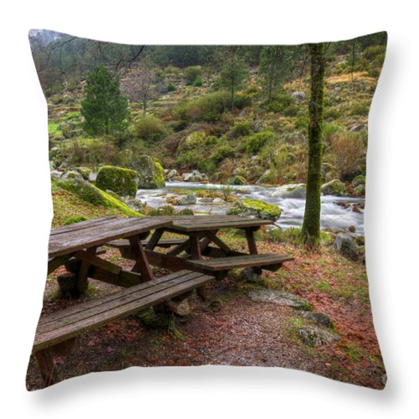 Tables by the River Throw Pillow by Carlos Caetano