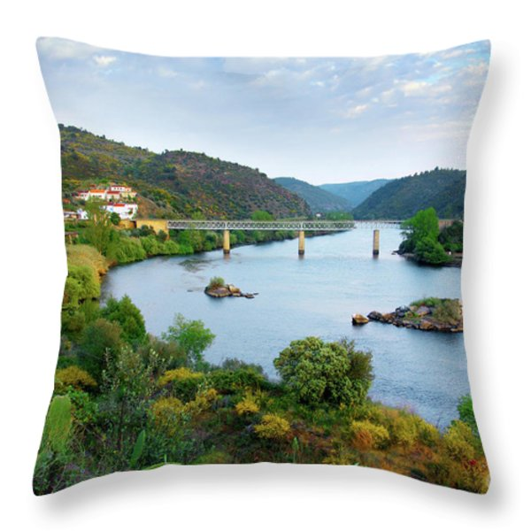 Tagus Landscape Throw Pillow by Carlos Caetano