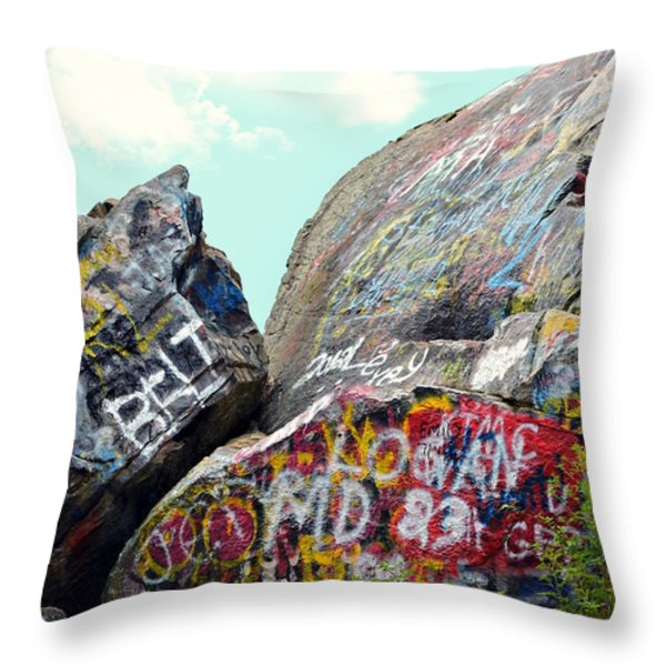 Talking Rocks And Sky Throw Pillow by Susan Leggett