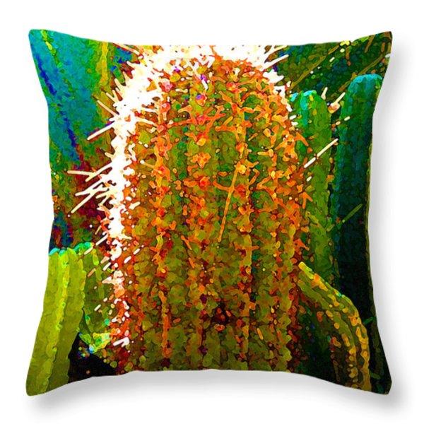 Tall Cactus Throw Pillow by Amy Vangsgard